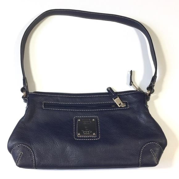 Tignanello Handbags - Tignanello Leather Baguette Purse Navy Blue